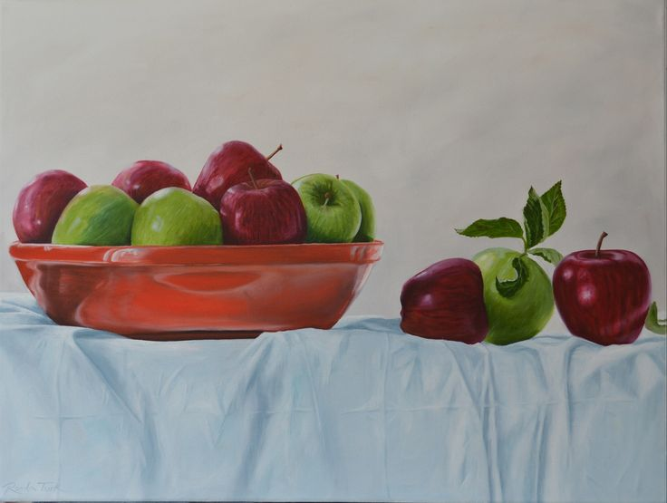 Red & Green apples, oil on canvas. 460 mm x 600 mm.  Studio 202 Levin NZ #paintings #Art #stillife