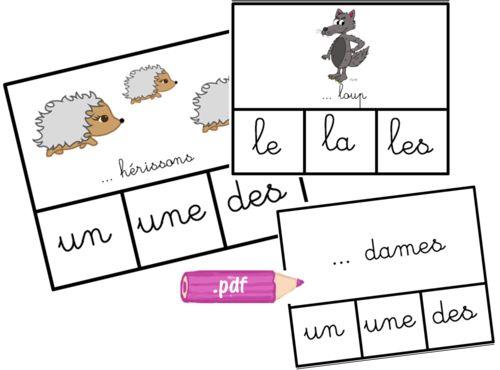 Un atelier autonome sur les articles, le genre et le nombre en CP : Cartes à pince, choisir entre un/une/des ou le/la/les. D'abord avec les images où les quantités sont bien représentées, puis...