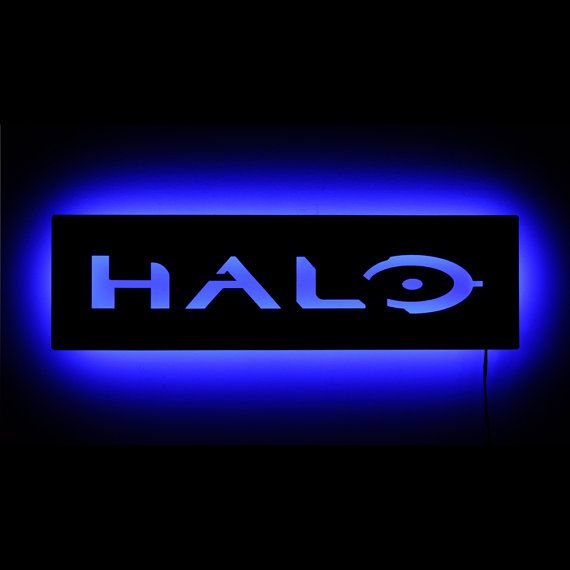 Lighted Halo Logo Sign and Wall Art - Halo Game with Master Chief - LED Illuminated Geek Decor and Gamer Decor