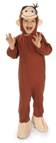 Deluxe Child Boys Curious George Monkey Suit Costume Small 4-6