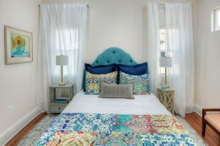 Mina and Karen of HGTV's Good Bones renovate a small two-story house in the historic Bates-Hendricks neighborhood in southeast Indy, creating a cottage charmer with a coastal vibe and explosions of color.  Love this bedding!!