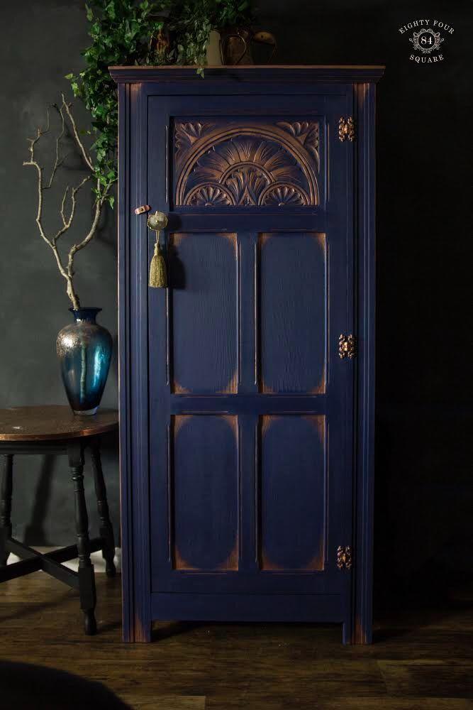 Napoleonic blue & copper wardrobe