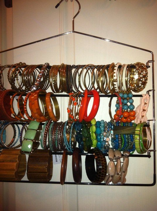 Great way to organize your bracelets. This is brilliant. You can even find ones that have a rubber cushion or velvet to protect them.