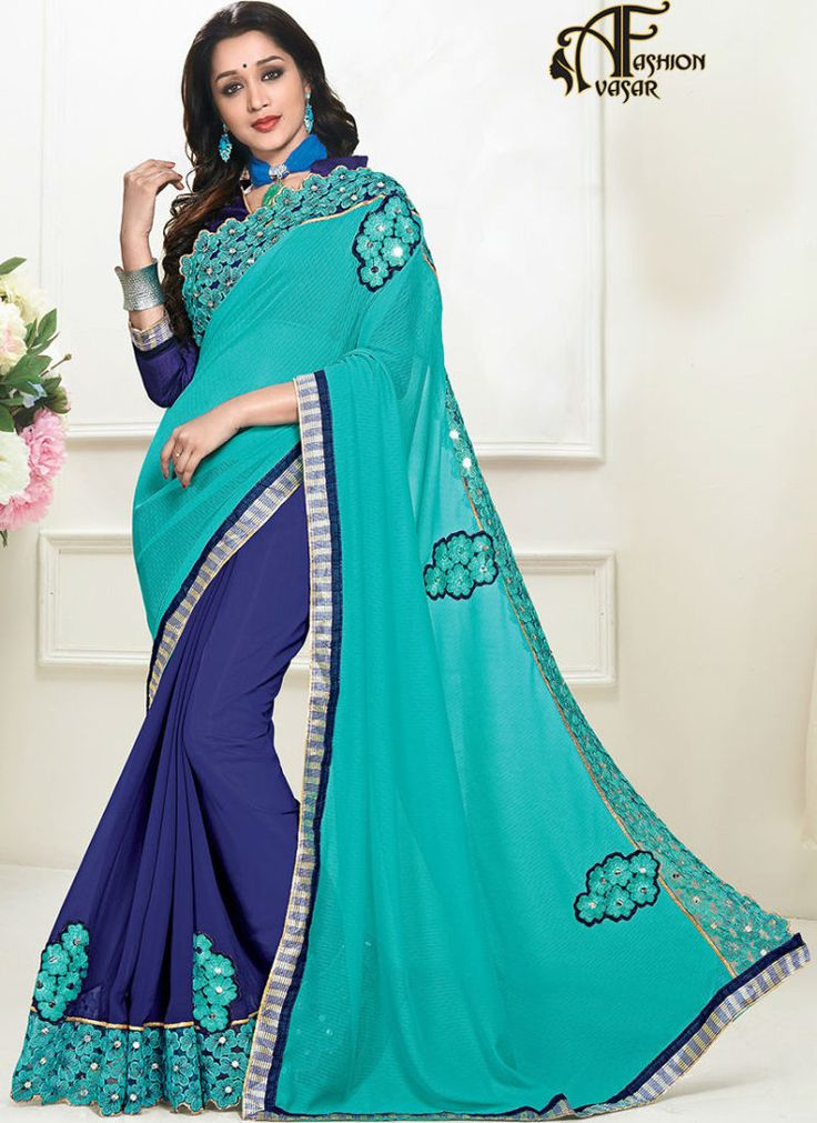 pure georgette party wear sarees