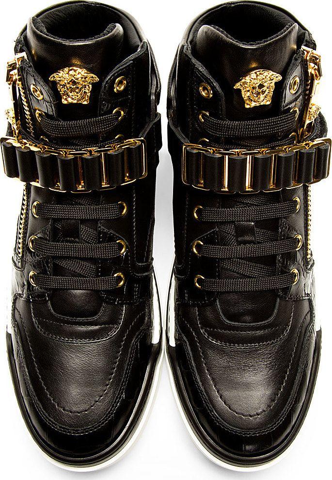 Versace: Black Leather High-Top Sneakers