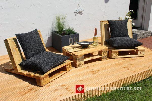Chairs Garden Small Chaises En Palette Salon De Jardin