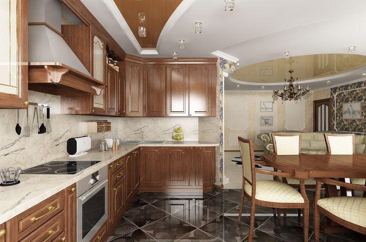 Дизайн интерьера гостиной совмещённой с кухней-столовой в 5-ти комнатной квартире | INTERIOR дизайн интерьера