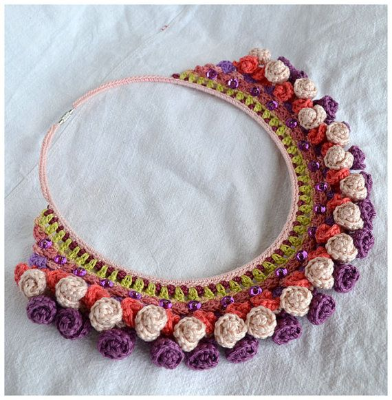 statement multi color bib necklace coral pink by Marmotescu, $38.00