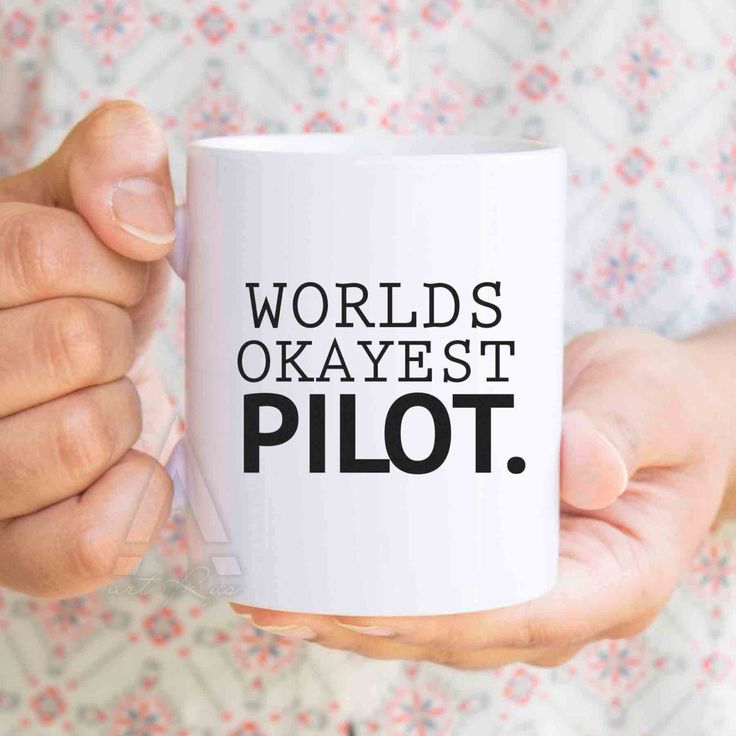 """gift for pilots, pilot wife, """"Worlds okayest pilot"""" funny coffee mug, airplane gifts, aviation gifts, gifts for a pilot, gifts for men MU191 by artRuss on Etsy                                                                                                                                                                                 More"""