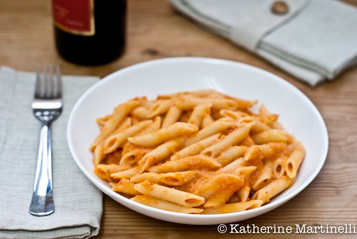 Skinny Penne alla Vodka Recipe  If the world turned upside down tomorrow and fat was no longer an issue, I'd eat Rachael Ray's penne alla vodka every day. This version just might be an answered prayer for me.