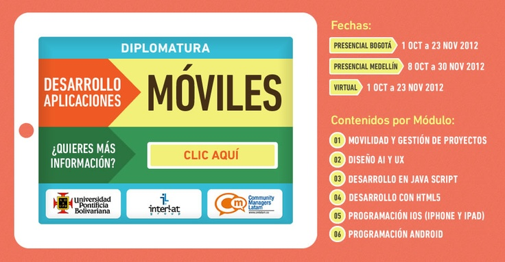 Diplomado Aplicaciones Móviles http://communitymanagerslatam.com/page/diplomado-apps-movil