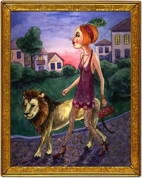 Illustration depicting the 1920s Flapper taking her pet lion for an evening walk.