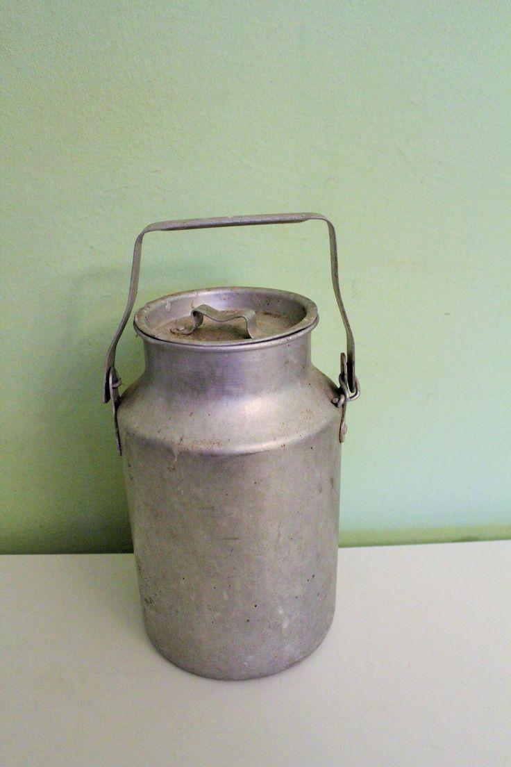 Aluminum Soviet Milk Can, Milk Container made in USSR, Metal Milk Storage, Primitive Rustic Water Holder, Farmhouse Kitchen Decor by Grandchildattic on Etsy