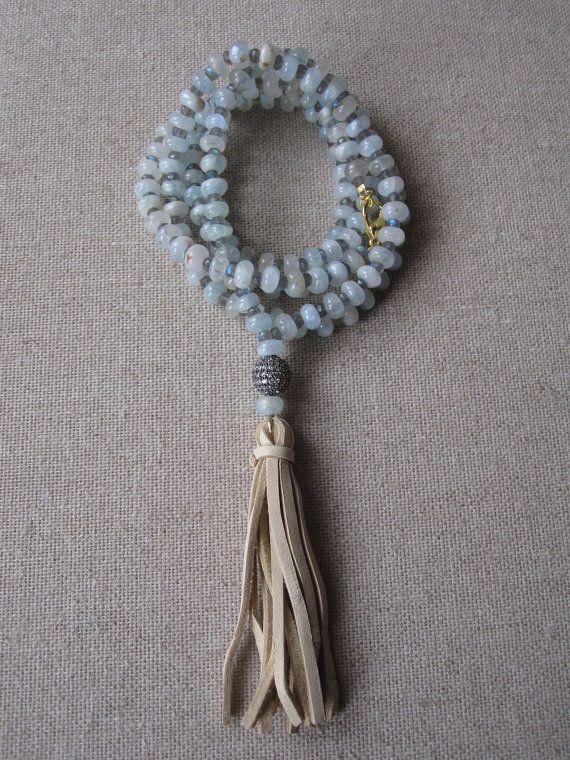The Medina- Blue Opal and Labradorite Cz/Tassel Necklace by Goldenstrand Jewelry