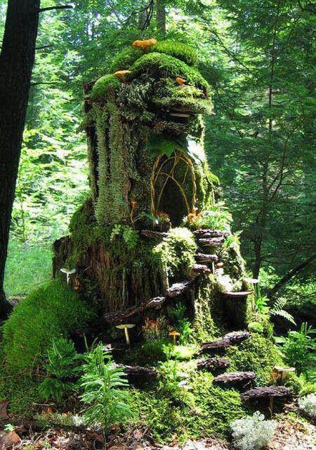 I am totally making some type of fairy home like this! It'd be great in my fairy garden!