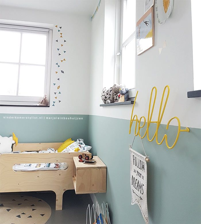 blue and yellow kids room decor