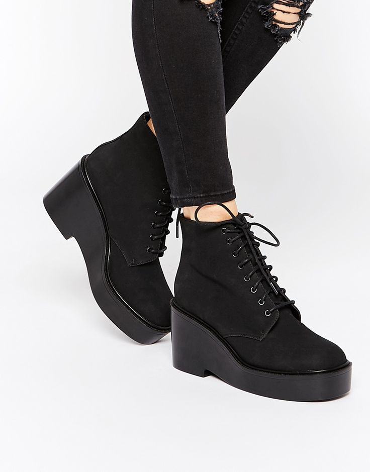 Image 1 ofASOS ECLIPSE Lace Up Ankle Boots