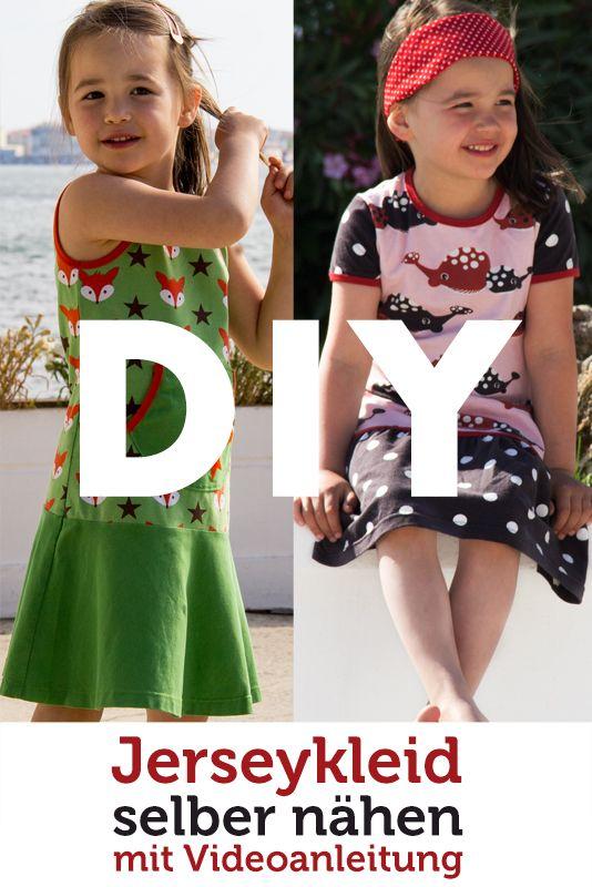 DIY Video Tutorial für ein Kinderkleid aus Jersey zum selber Nähen. Mit vielen Ärmel- und Rockvarianten - auch für Nähanfänger geeignet.