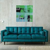 Zboží prodejce ProstěBižutka / Zboží   Fler.cz ilustrační foto. Abstract art, ilussion in living room, blue and green and silver or green geometric art. Umění, abstraktní umění, zelené a modré a stříbrné (šedé) geometrické, čtverce.