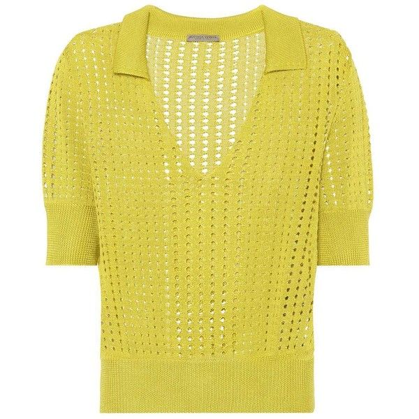 Bottega Veneta Knitted Silk Top (10.680.280 IDR) ❤ liked on Polyvore featuring tops, green, polo shirts, silk top, yellow silk top, silk polo shirts and yellow polo shirt