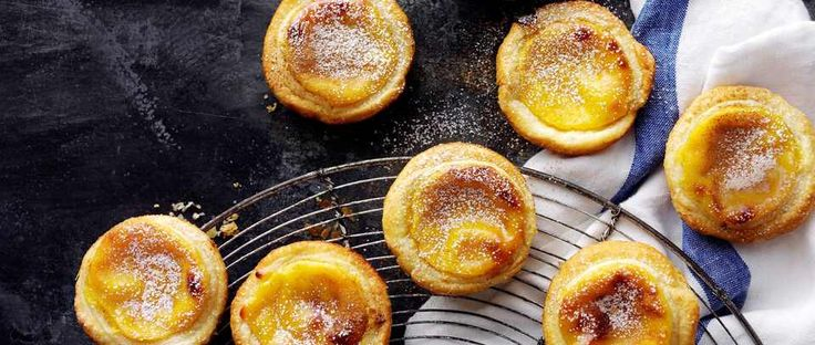 Make classic Portuguese custard tarts with step-by-step help from the olive test kitchen. Dusting the pastry with icing sugar gives the tarts a golden, caramelised crust when cooked