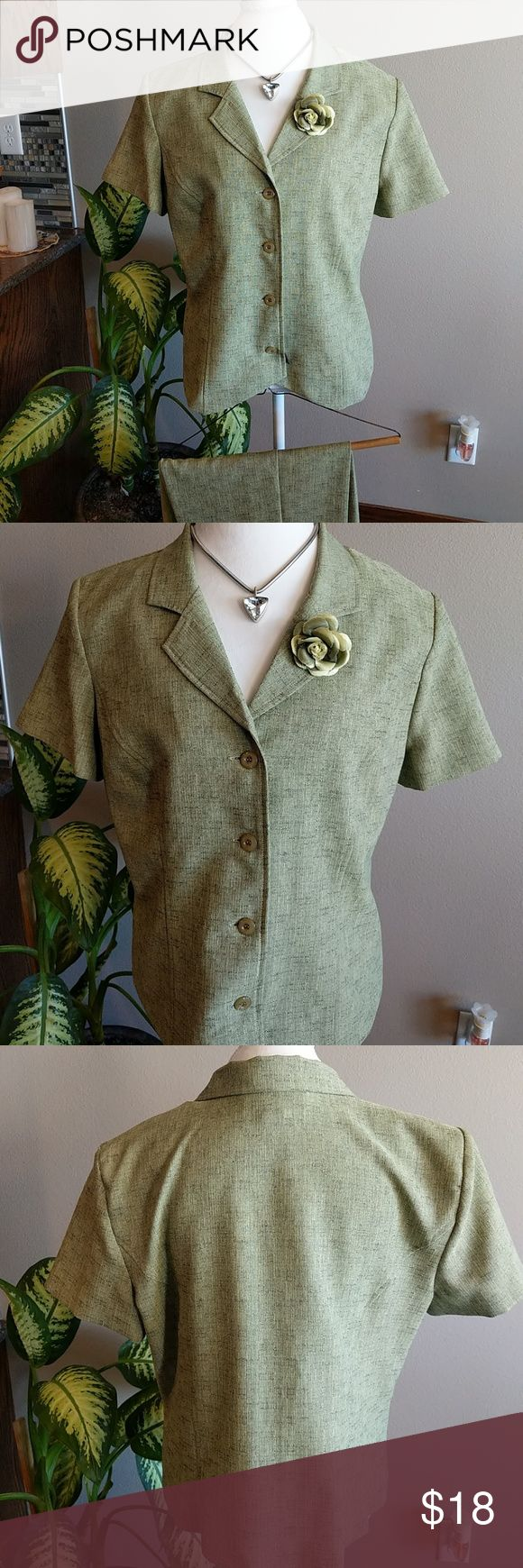 Sag Harbor green dress suit set Great shape like new Sag Harbor short sleeve jacket with matching pants. Jacket has four buttons does have shoulder pads built in. Pants have a side zipper elastic these have been hemmed to an inseam of about 27 and 1/2. Sag Harbor Tops Button Down Shirts