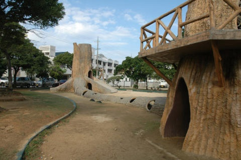 This is a park in okinawa and I actually have family photos of me in these treehouses