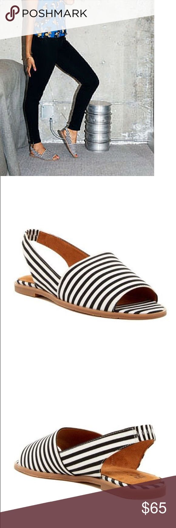 "Slingback Nautical Sandal Upper stripped canvas Color: Black/White Stripe  Measurements: 1"" heel Width: B(M) Urban Outfitters Shoes Flats & Loafers"