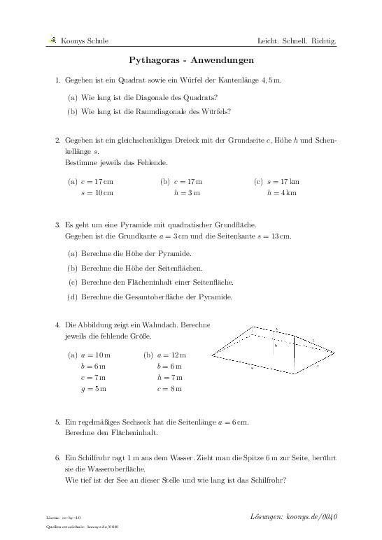 pythagoras anwendungen aufgaben mit l sungen und videoerkl rungen 0040 klasse 9. Black Bedroom Furniture Sets. Home Design Ideas