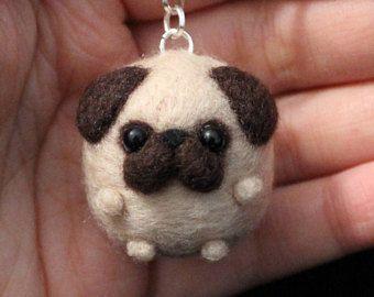 pug Cute Needle Felted Keychain Puppy Accessory gift dog handmade christmas animal mini #feltedpuppy