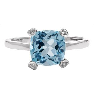 Cushion Cut Blue Topaz Diamond Silver Simple Ring Gemstone Jewelry Available Exclusively at Gemologica.com