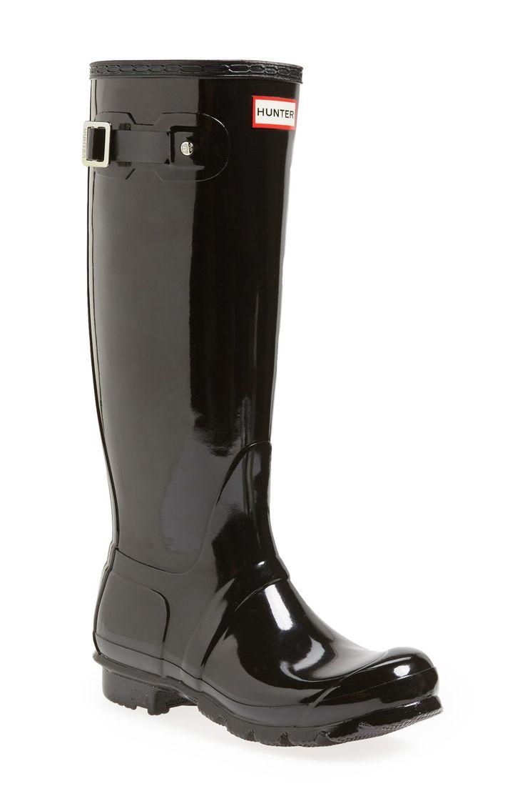Hunter Original High Gloss Boot (Women) Size 9 Black- glossy (tall) https://www.hunterboots.com/us/en_us/female-tall-rain-boots/womens-original-adjustable-gloss-rain-boots/black/1273