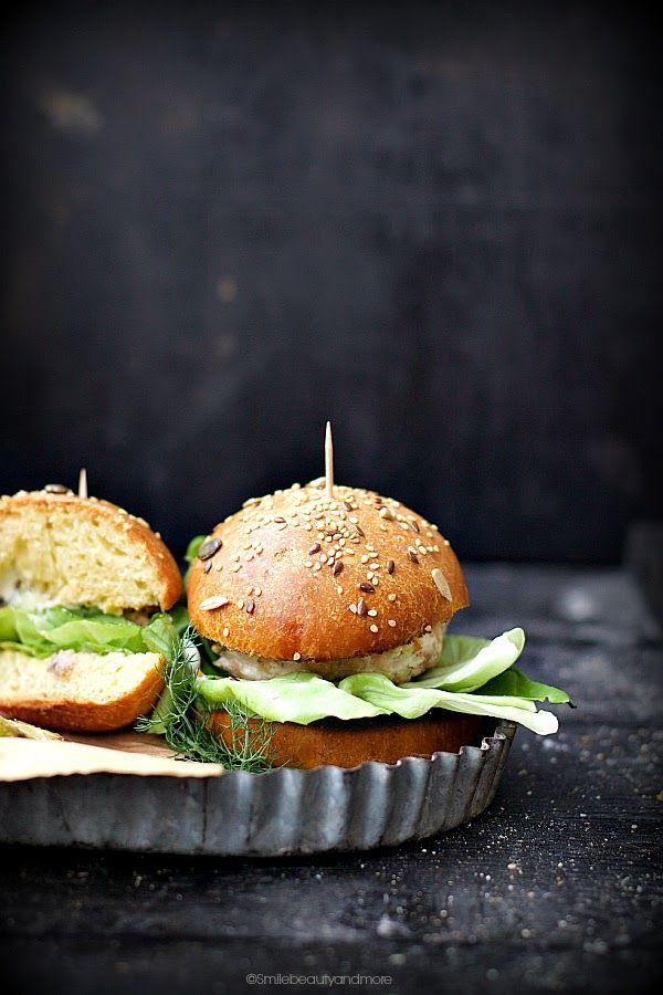 salmon burger with sourdough bread