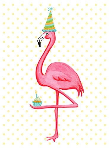 Birthday Greeting card Pink Flamingo who I by AmelieCardsandPrints