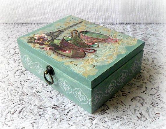 Wooden tea box , jewelry box , decoupage box , vintage style box , vintage style box , Eiffel Tower , tea cups , sage color