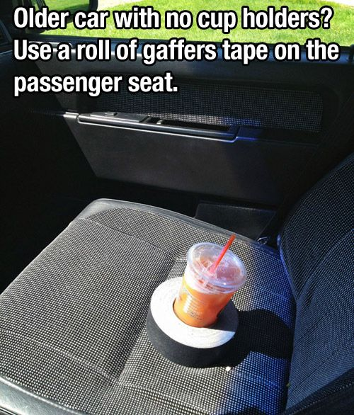 Make a go-anywhere cup holder from a tape roll. | 21 Insanely Clever Tricks To Vastly Improve Your Car