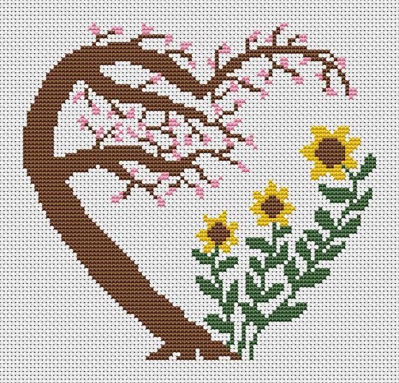 Garden heart cross stitch pattern, cherry blossom tree, sunflowers, flowers…