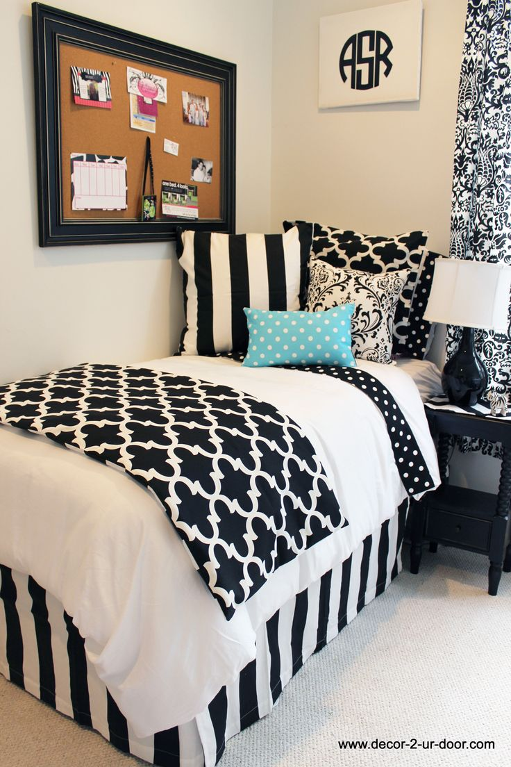 1000 ideas about dorm bed skirts on pinterest monogram for Black and white rooms for teens