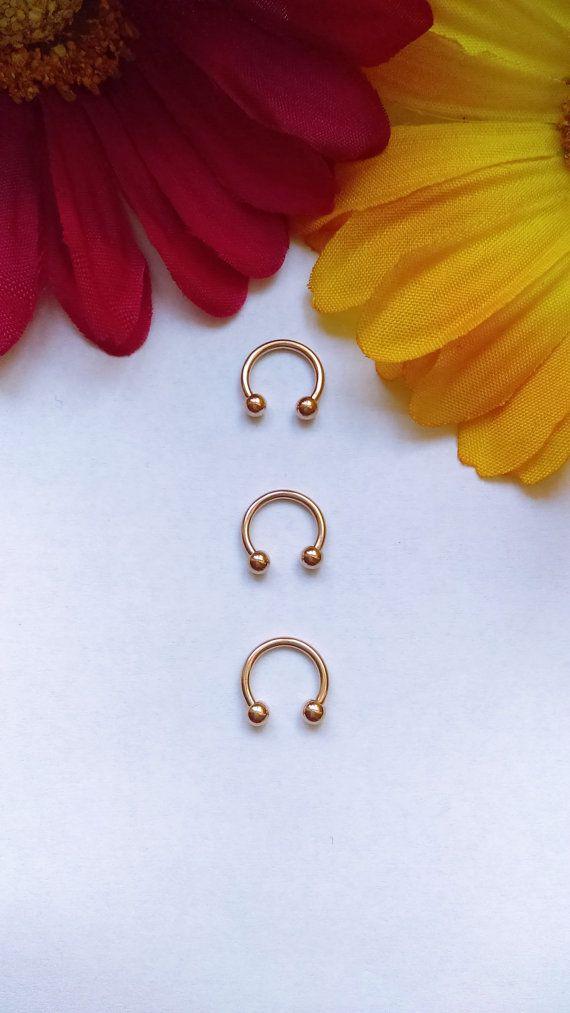 16g 3/8' Rose Gold Septum Ring Horseshoe Ring by NomzBodyJewelry