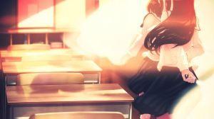 Preview wallpaper anime, anime girl, girl, kiss, school uniform 1920x1080