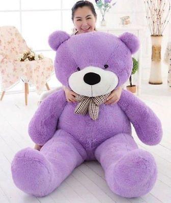 "55""GIANT HUGE BIG STUFFED ANIMAL PURPLE TEDDY BEAR PLUSH SOFT TOY 140CM"