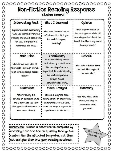 idea for independent reading accountability or guided reading. Maybe also do with comprehension strategies/text structures/narrative text elements.