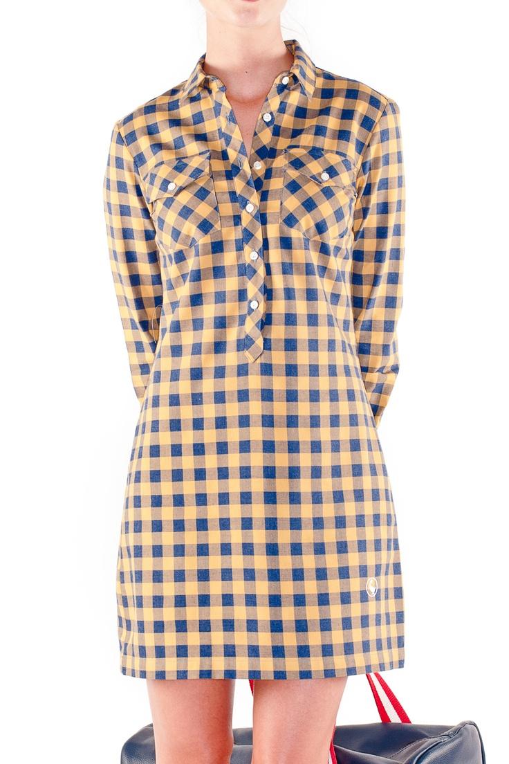 Vestido Camisero Vichy Bicolor Amarillo/Marino - Mujer   El Ganso Online Store