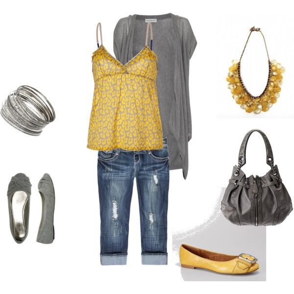 I love the gray and yellow - with jeans in the cold months and no need for yellow shoes, cozy gray flats are perfect.