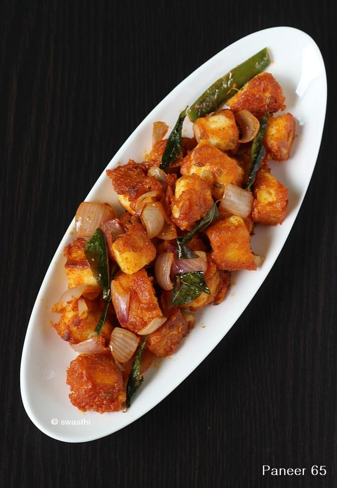 Paneer 65 recipe - a hyderabadi restaurant style crisp fried paneer recipe. Learn to make the best paneer 65 with step by step photos