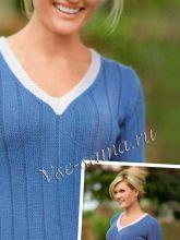 Сине-розовый пуловер, фото