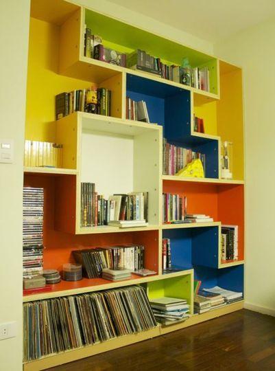 Colorful modular tetris bookshelf man made diy crafts for Diy modular bookcase