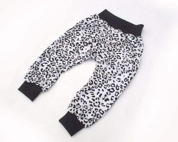 Black and White Leopard Print  Baggy Harem Pants  by SunnuBunnu