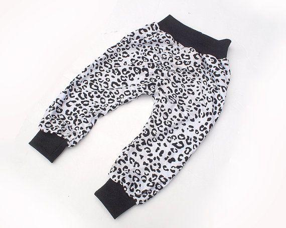 Black and White Leopard Print  Baggy Harem Pants  by SunnuBunnu