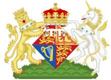 Coat of arms for Princess Eugene of York (the thistle comes from Sarah, Duchess of York), eldest daughter of Prince Andrew
